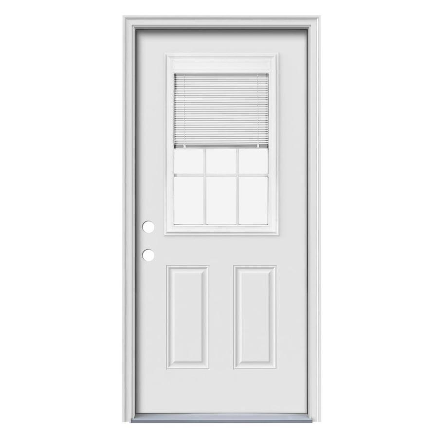 JELD-WEN 2-Panel Insulating Core Blinds and Grilles Between The Glass Half Lite Right-Hand Inswing Steel Primed Prehung Entry Door (Common: 36-in x 80-in; Actual: 37.5-in x 81.75-in)