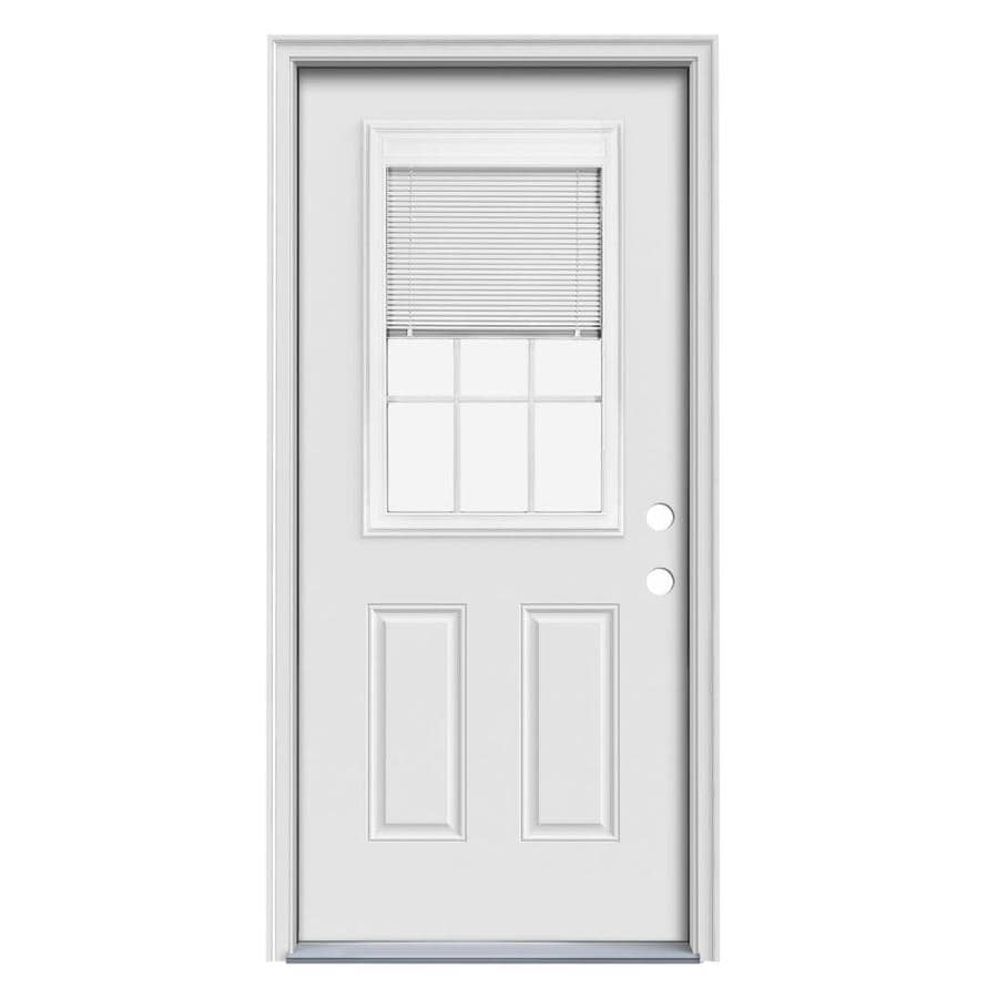 JELD-WEN 2-Panel Insulating Core Blinds and Grilles Between The Glass Half Lite Left-Hand Inswing Steel Primed Prehung Entry Door (Common: 36-in x 80-in; Actual: 37.5-in x 81.75-in)