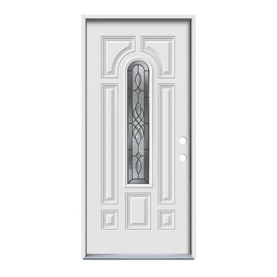 JELD-WEN Hampton 8-Panel Insulating Core Center Arch Lite Left-Hand Inswing Steel Primed Prehung Entry Door (Common: 36-in x 80-in; Actual: 37.5-in x 81.75-in)