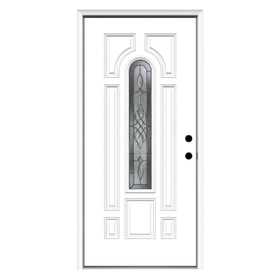 Shop Jeld Wen Hampton Center Arch Lite Decorative Glass Left Hand Inswing Primed Steel Prehung