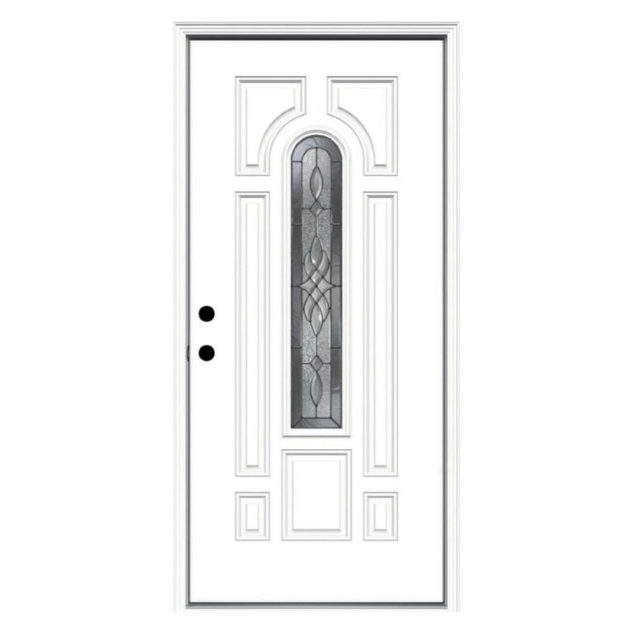 JELD-WEN Hampton Decorative Glass Right-Hand Inswing Primed Steel Prehung Entry Door with Insulating Core (Common: 36-in x 80-in; Actual: 37.5000-in x 81.7500-in)