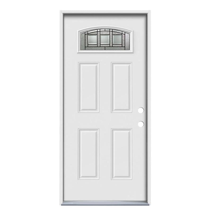 JELD-WEN Craftsman Decorative Glass Left-Hand Inswing Primed Steel Prehung Entry Door with Insulating Core (Common: 36-in x 80-in; Actual: 37.5-in x 81.75-in)