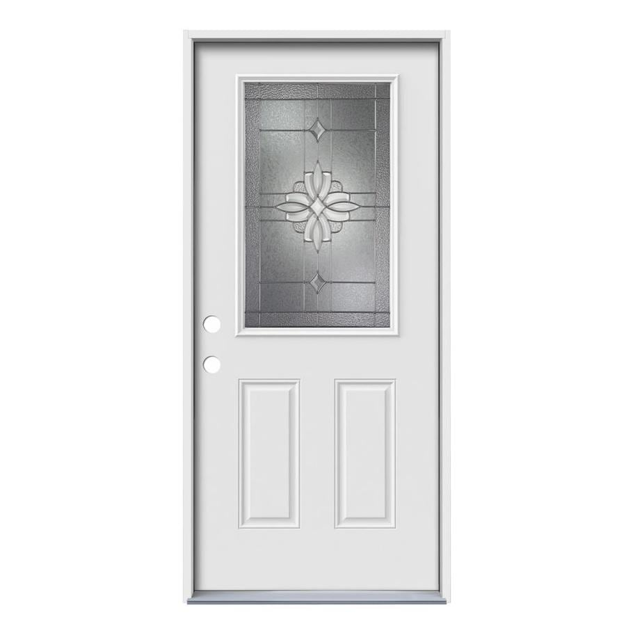 JELD-WEN Laurel 2-Panel Insulating Core Half Lite Right-Hand Inswing Steel Primed Prehung Entry Door (Common: 36-in x 80-in; Actual: 37.5-in x 81.75-in)