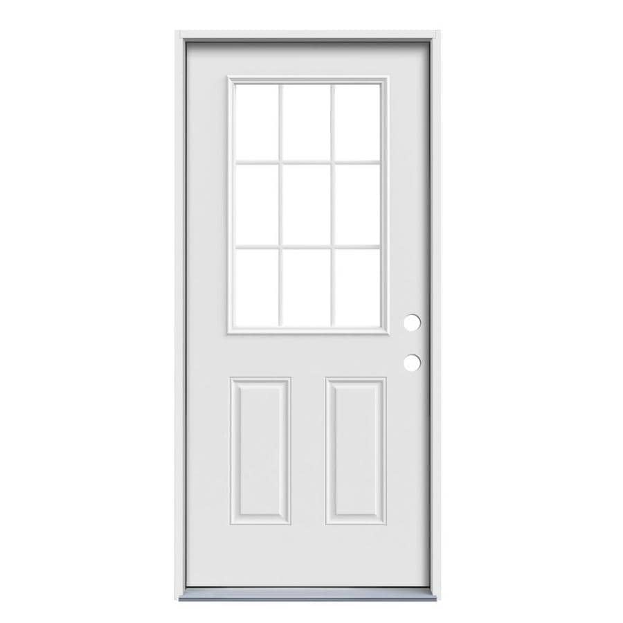 JELD-WEN Simulated Divided Light Left-Hand Inswing Primed Steel Prehung Entry Door with Insulating Core (Common: 36-in x 80-in; Actual: 37.5-in x 81.75-in)