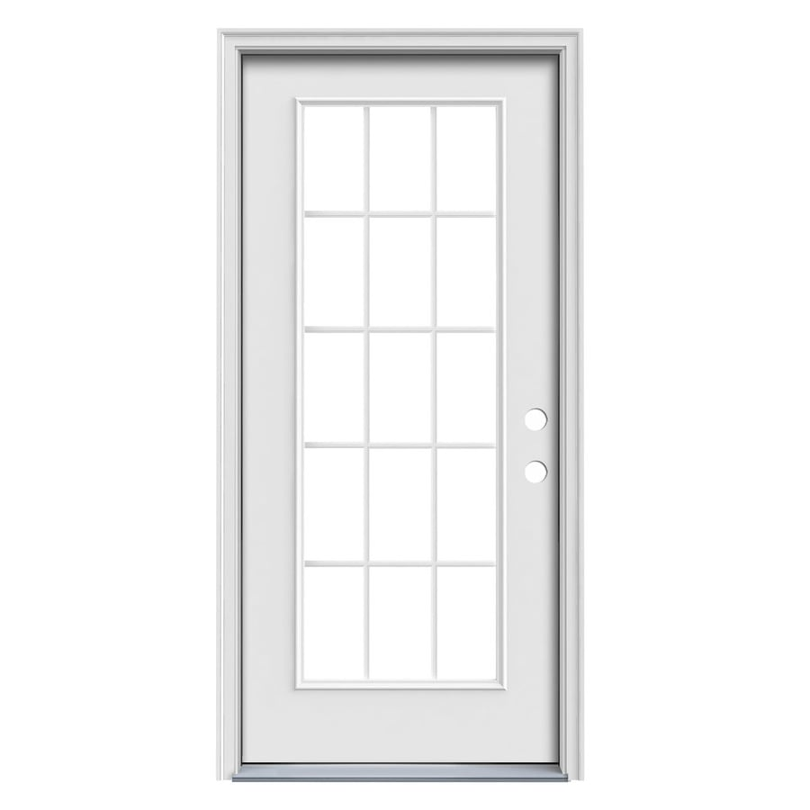 Shop jeld wen 1 panel insulating core 15 lite left hand for 15 lite door exterior