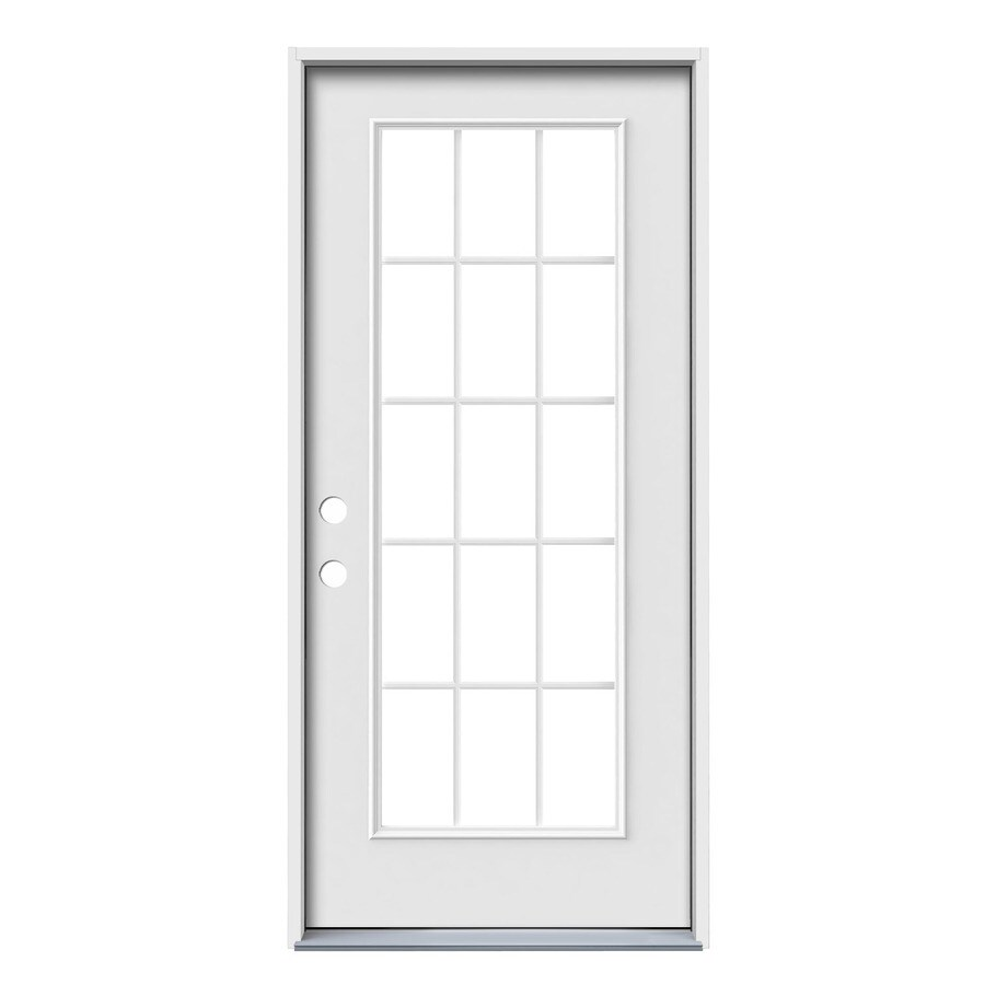 JELD-WEN Simulated Divided Light Right-Hand Inswing Primed Steel Prehung Entry Door with Insulating Core (Common: 36-in x 80-in; Actual: 37.5-in x 81.75-in)