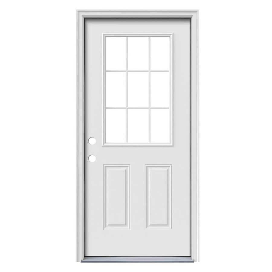 JELD-WEN 2-Panel Insulating Core 9-Lite Right-Hand Inswing Steel Primed Prehung Entry Door (Common: 36-in x 80-in; Actual: 37.5-in x 81.75-in)
