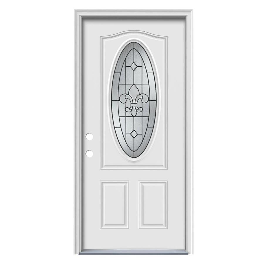 JELD-WEN Nola Decorative Glass Right-Hand Inswing Primed Steel Prehung Entry Door with Insulating Core (Common: 32-in x 80-in; Actual: 33.5-in x 81.75-in)