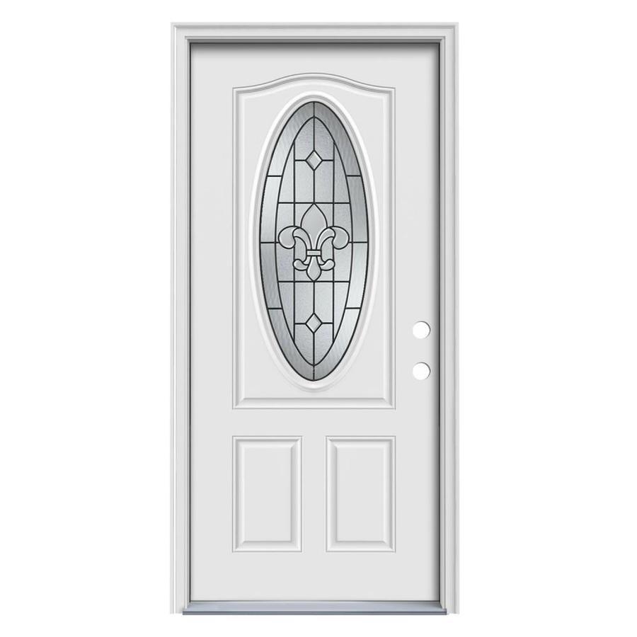 JELD-WEN Nola 2-Panel Insulating Core Oval Lite Left-Hand Inswing Steel Primed Prehung Entry Door (Common: 36-in x 80-in; Actual: 37.5-in x 81.75-in)