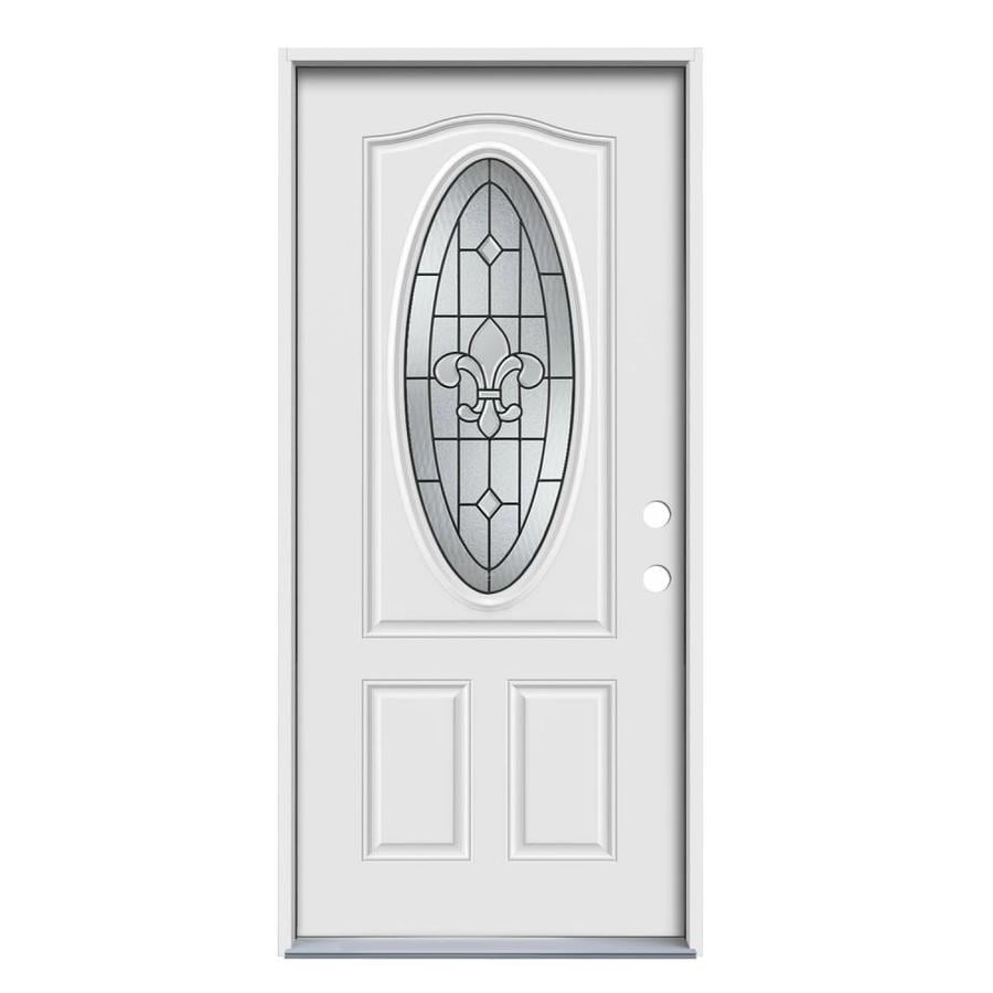 JELD-WEN Nola Decorative Glass Left-Hand Inswing Primed Steel Prehung Entry Door with Insulating Core (Common: 32-in x 80-in; Actual: 33.5-in x 81.75-in)