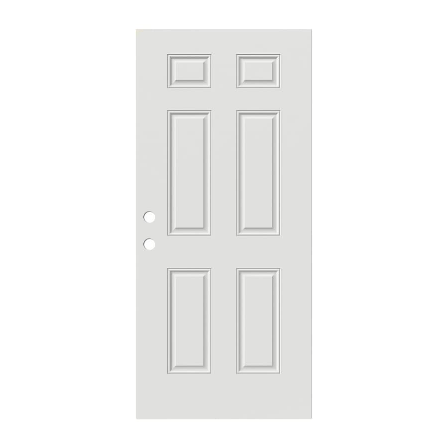 JELD-WEN 6-Panel Insulating Core Steel Primed Slab Entry Door (Common: 32-in x 80-in; Actual: 32-in x 80-in)