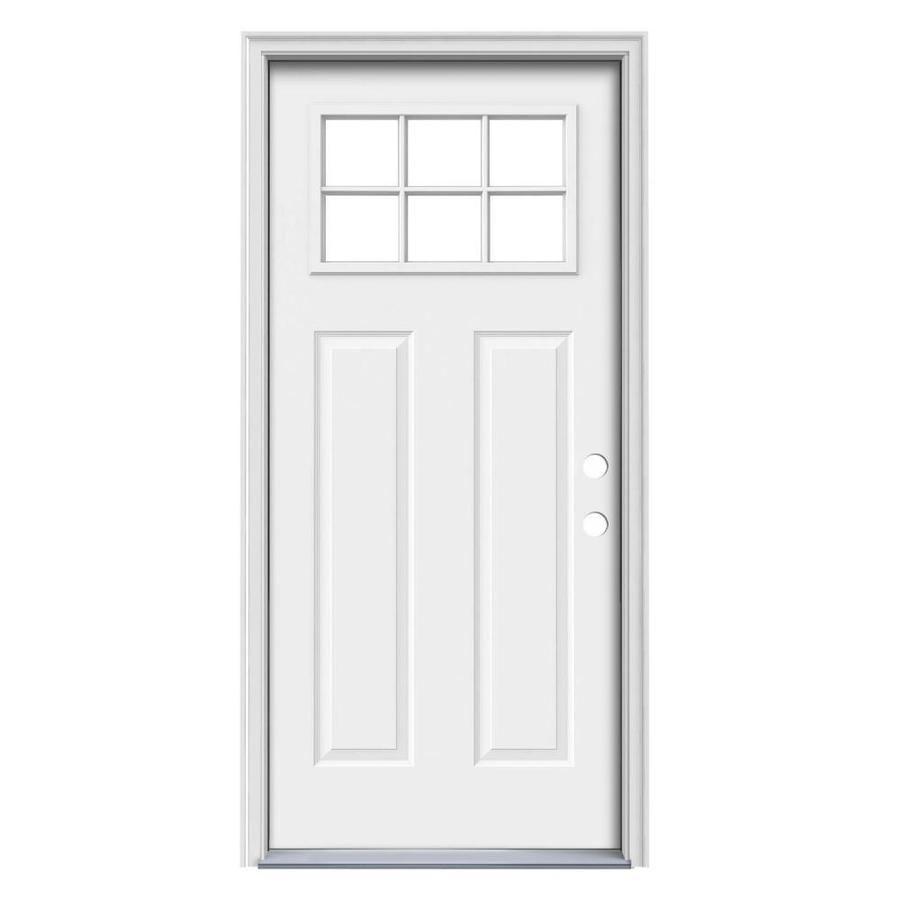 JELD-WEN Craftsman Decorative Glass Left-Hand Inswing Steel Primed Entry Door (Common: 36-in x 80-in; Actual: 37.5-in x 81.75-in)