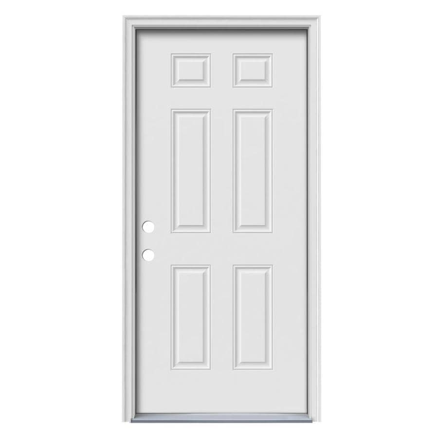 JELD-WEN 6-Panel Insulating Core Right-Hand Inswing Steel Primed Prehung Entry Door (Common: 36-in x 80-in; Actual: 37.5-in x 81.75-in)