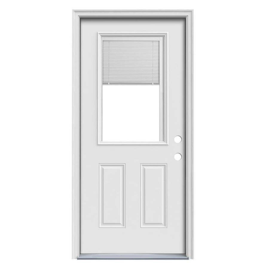JELD-WEN 2-Panel Insulating Core Blinds Between The Glass Half Lite Left-Hand Inswing Steel Primed Prehung Entry Door (Common: 32-in x 80-in; Actual: 33.5-in x 81.75-in)