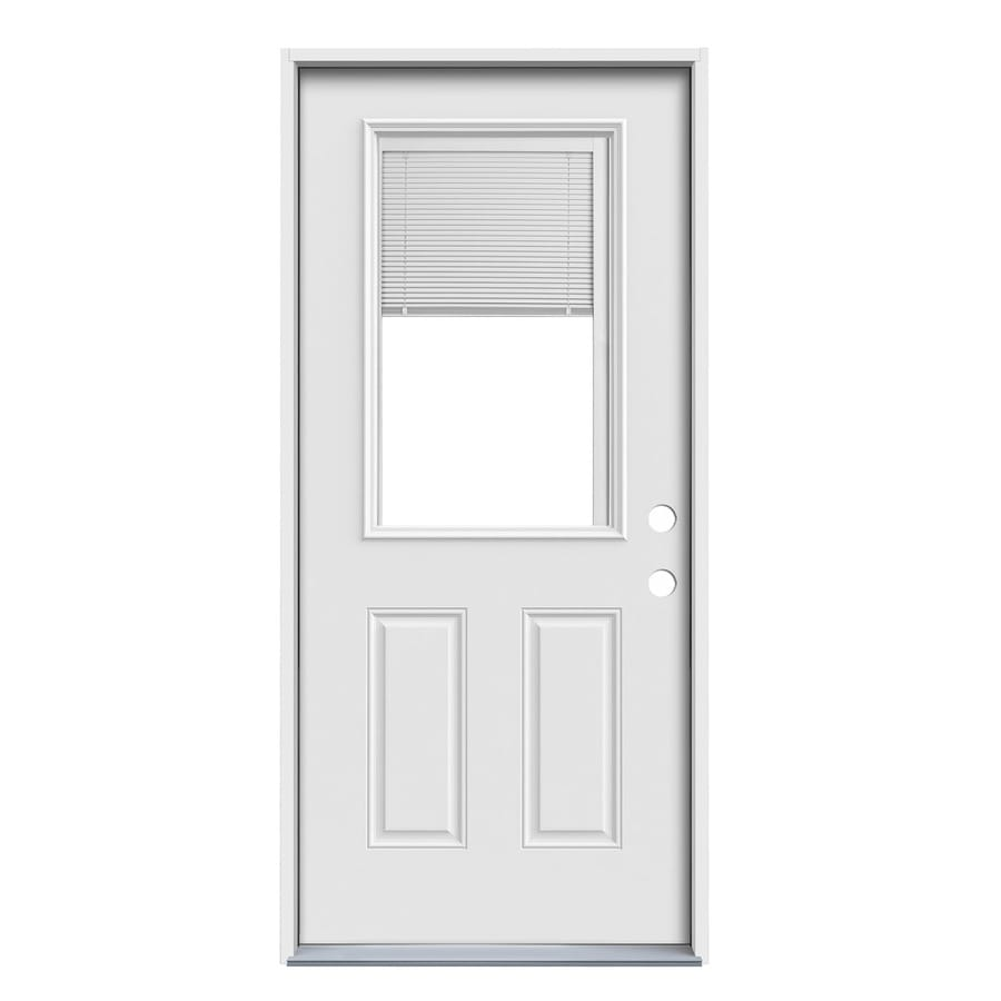 JELD-WEN Blinds Between the Glass Left-Hand Inswing Steel Primed Entry Door (Common: 36-in x 80-in; Actual: 37.5000-in x 81.7500-in)