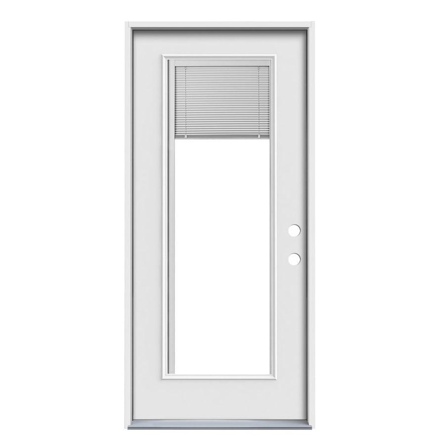 JELD-WEN Blinds Between the Glass Left-Hand Inswing Primed Steel Prehung Entry Door with Insulating Core (Common: 32-in x 80-in; Actual: 33.5-in x 81.75-in)
