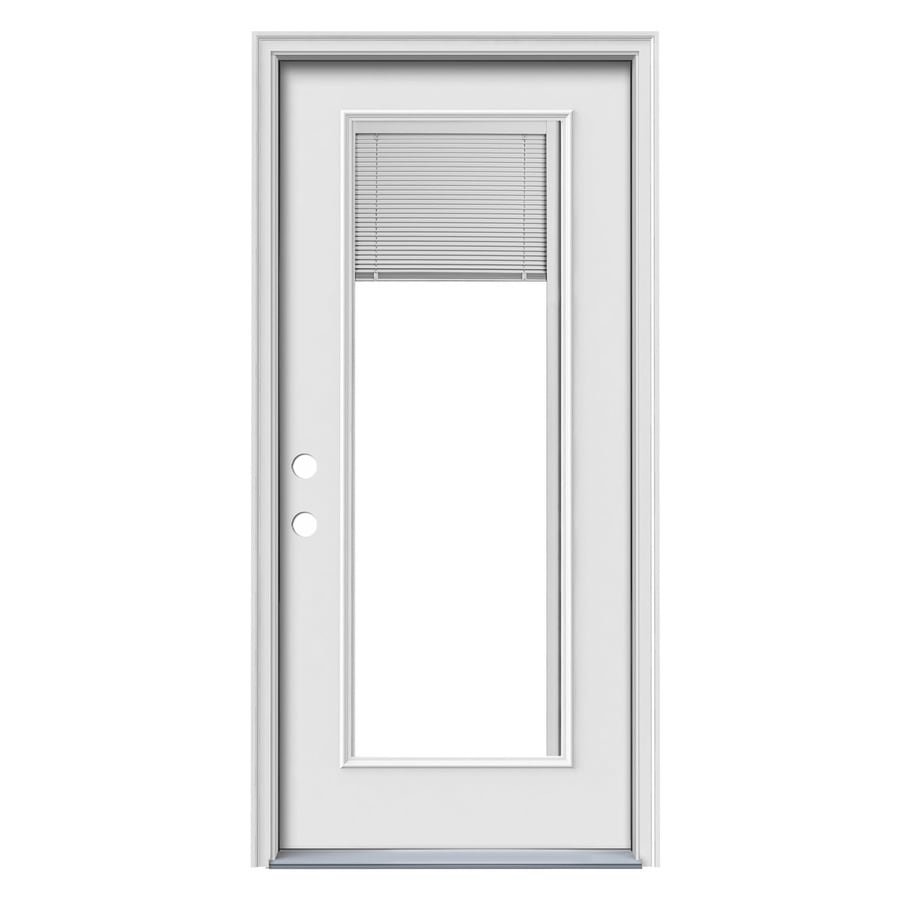 JELD-WEN 1-Panel Insulating Core Blinds Between The Glass Full Lite Right-Hand Inswing Steel Primed Prehung Entry Door (Common: 32-in x 80-in; Actual: 33.5-in x 81.75-in)