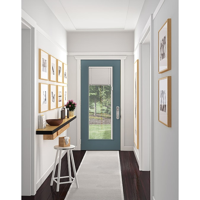 Jeld Wen 32 In X 80 In Steel Full Lite Left Hand Inswing Primed Prehung Single Front Door With Blinds In The Front Doors Department At Lowes Com From front entry doors, patio doors, pantry doors, exterior doors, wood doors, fiberglass doors, iron doors, and barn doors, you'll find what you need right here. jeld wen 32 in x 80 in steel full lite left hand inswing primed prehung single front door with blinds