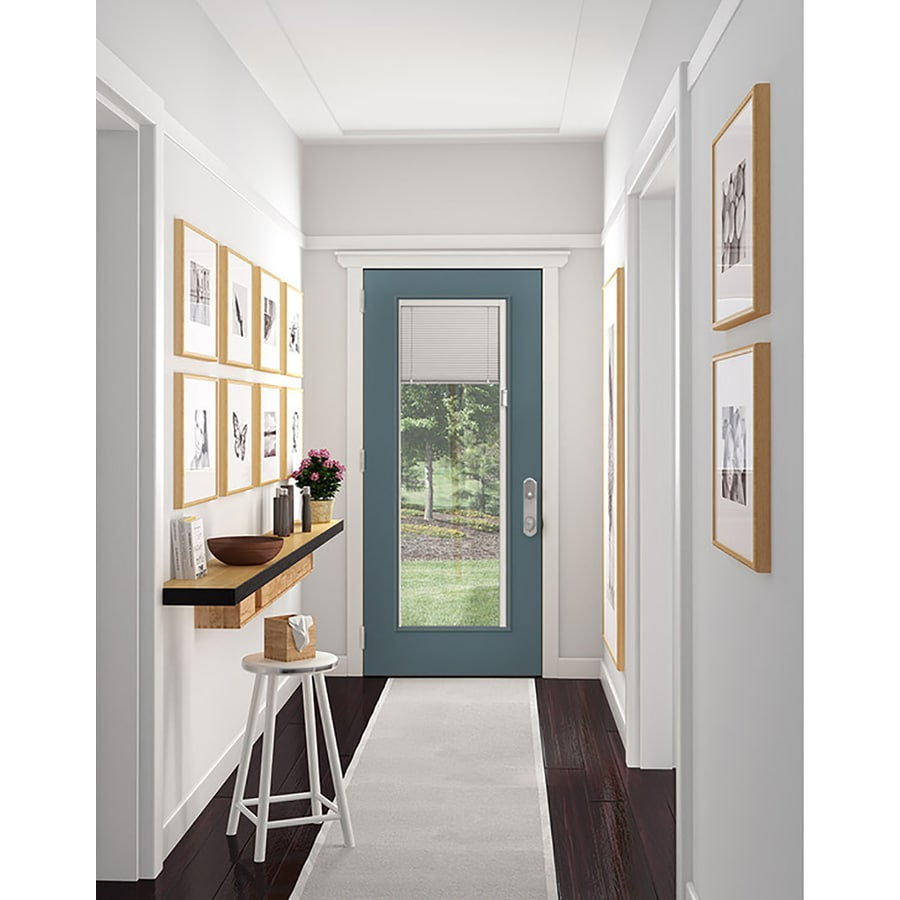 JELD-WEN Blinds Between the Glass Left-Hand Inswing Primed Steel Prehung Entry Door with Insulating Core (Common: 36-in x 80-in; Actual: 37.5-in x 81.75-in)