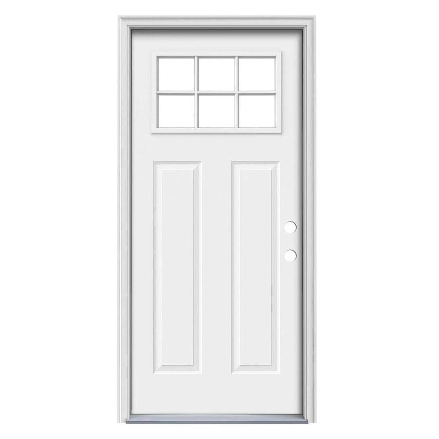 JELD-WEN Simulated Divided Light Left-Hand Inswing Primed Steel Prehung Entry Door with Insulating Core (Common: 32-in x 80-in; Actual: 33.5-in x 81.75-in)