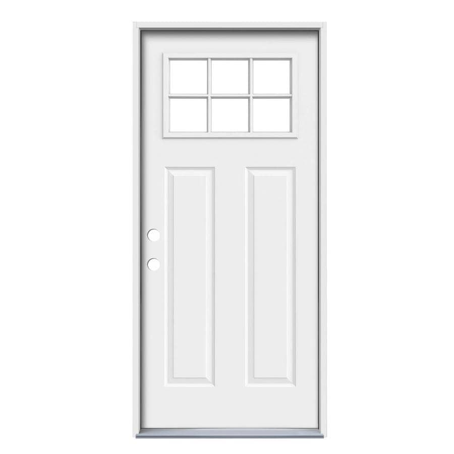 JELD-WEN Simulated Divided Light Right-Hand Inswing Primed Steel Prehung Entry Door with Insulating Core (Common: 32-in x 80-in; Actual: 33.5-in x 81.75-in)