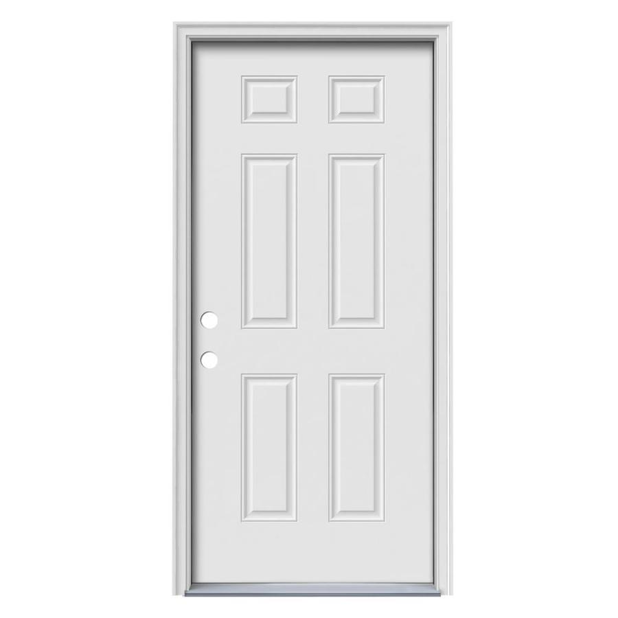 JELD-WEN Right-Hand Inswing Primed Steel Prehung Entry Door with Insulating Core (Common: 36-in x 80-in; Actual: 37.5-in x 81.75-in)