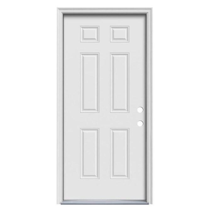 Jeld Wen 36 In X 80 In Steel Left Hand Inswing Primed Prehung Single Front Door With Brickmould In The Front Doors Department At Lowes Com