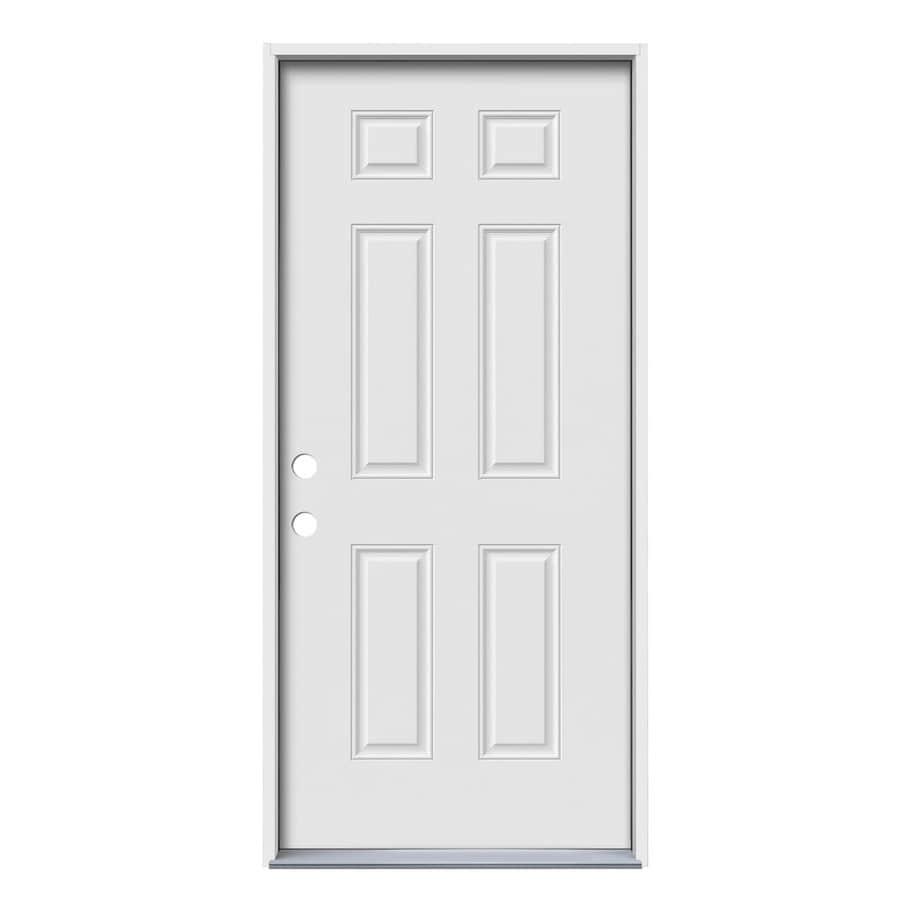 JELD-WEN 6-Panel Insulating Core Right-Hand Inswing Steel Primed Prehung Entry Door (Common: 32-in x 80-in; Actual: 33.5-in x 81.75-in)