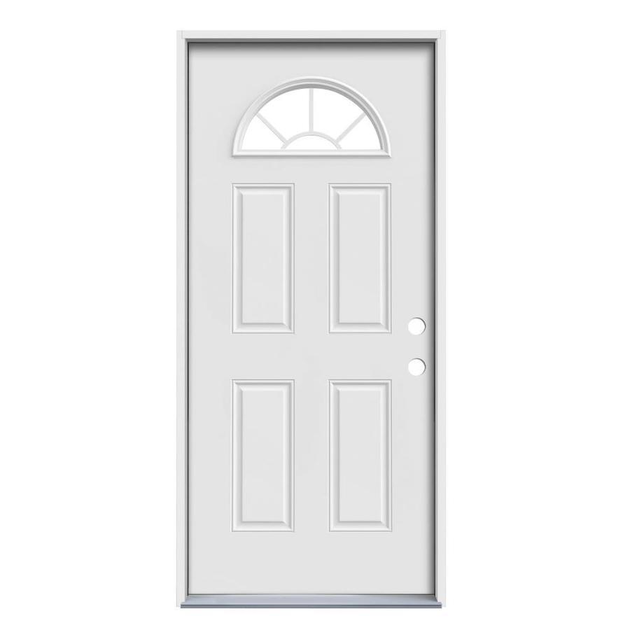 JELD-WEN Sunburst 2-Panel Insulating Core Fan Lite Left-Hand Inswing Steel Primed Prehung Entry Door (Common: 36-in x 80-in; Actual: 37.5-in x 81.75-in)