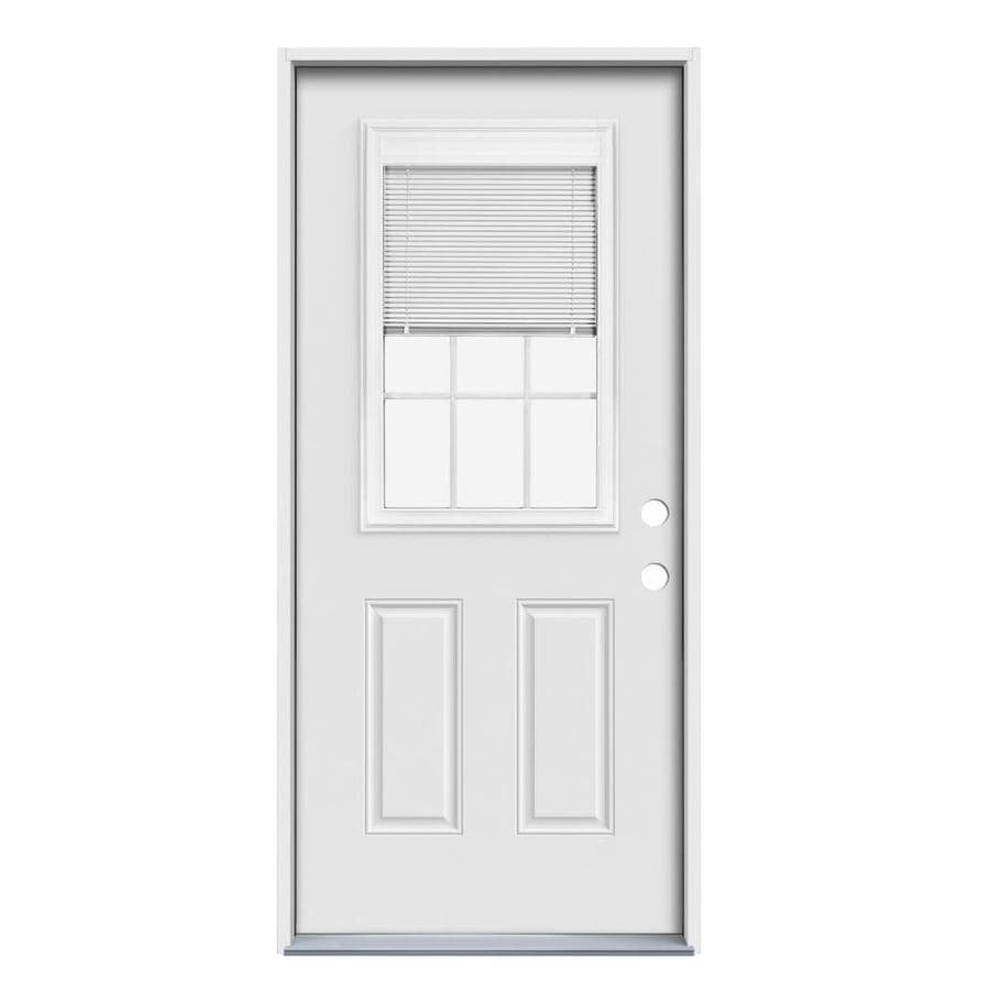 JELD-WEN 2-Panel Insulating Core Blinds and Grilles Between The Glass Half Lite Left-Hand Inswing Steel Primed Prehung Entry Door (Common: 32-in x 80-in; Actual: 33.5-in x 81.75-in)
