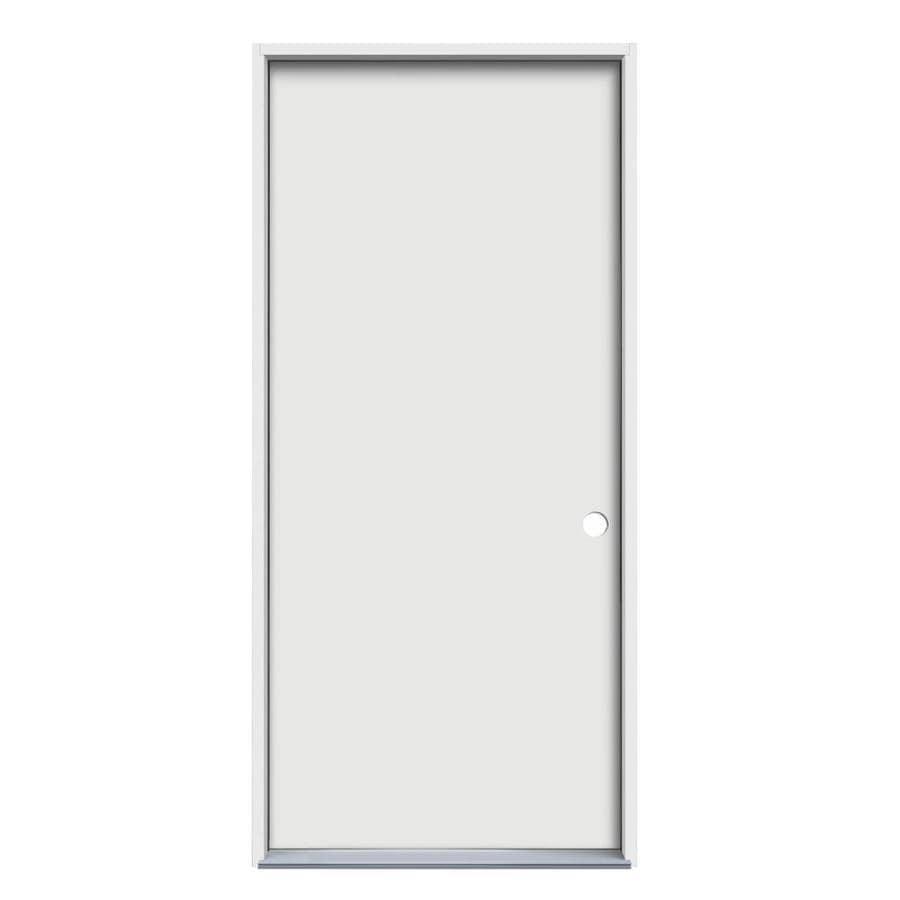 JELD-WEN Flush Insulating Core Left-Hand Inswing Steel Primed Prehung Entry Door (Common: 36-in x 80-in; Actual: 37.5-in x 81.75-in)