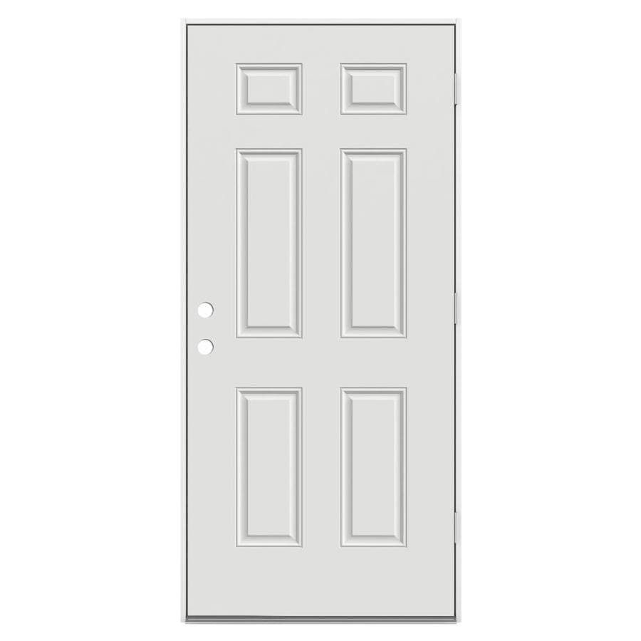 JELD-WEN 6-Panel Insulating Core Left-Hand Outswing Steel Primed Prehung Entry Door (Common: 36-in x 80-in; Actual: 37.5-in x 81.75-in)