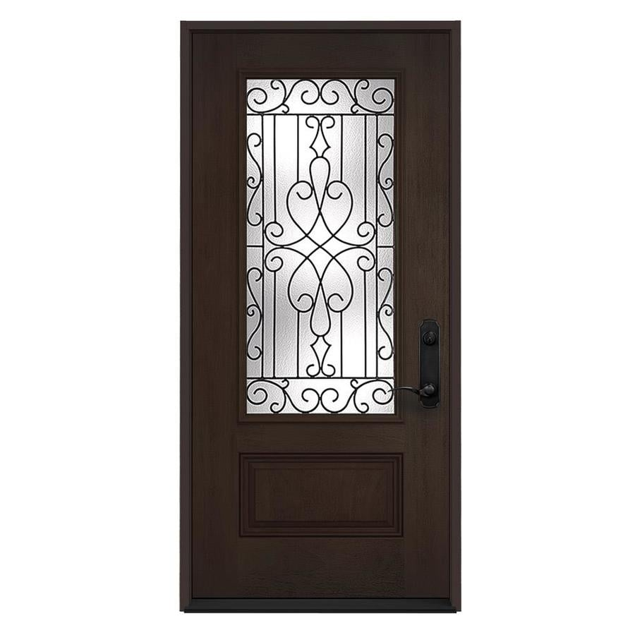 JELD-WEN Wyngate 1-Panel Insulating Core 3/4 Lite Left-Hand Inswing Walnut Stain Fiberglass Stained Prehung Entry Door (Common: 36.0000-in x 80.0000-in; Actual: 36.0000-in x 80.0000-in)