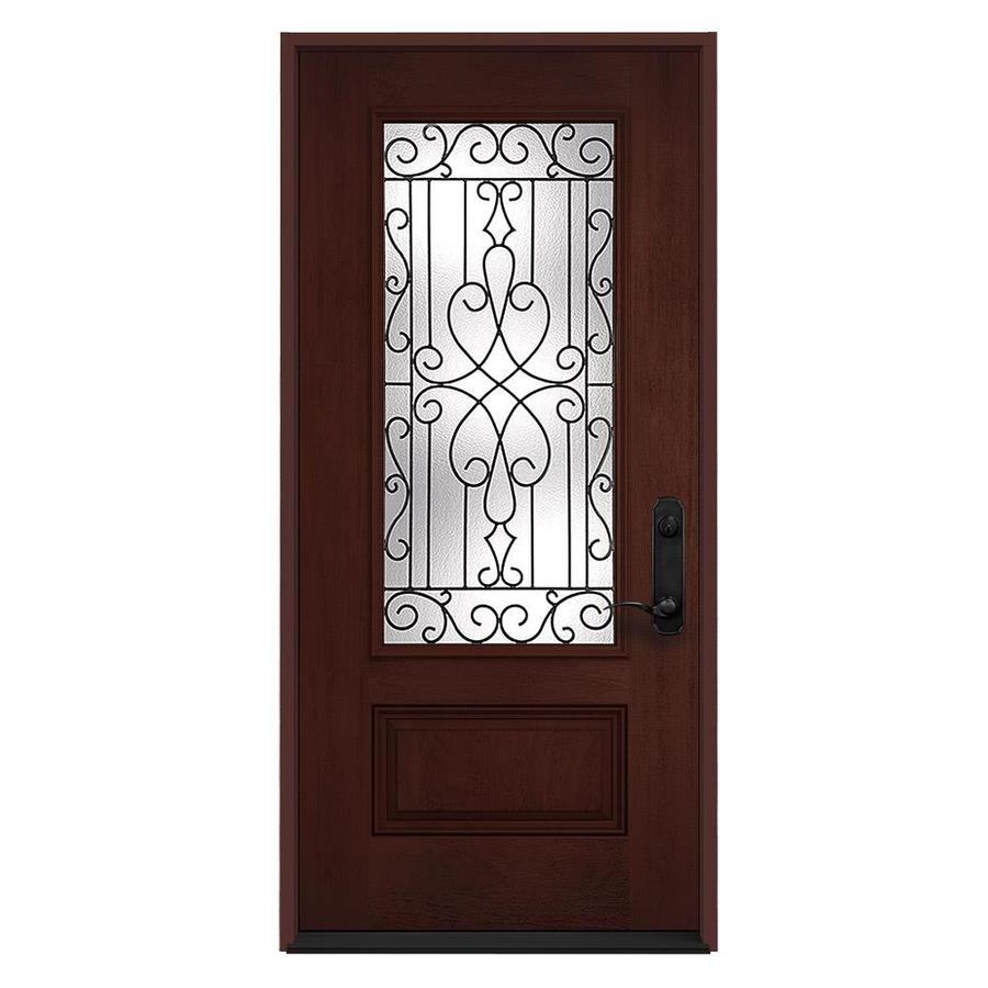 JELD-WEN Wyngate Decorative Glass Left-Hand Inswing Wineberry Stained Fiberglass Prehung Entry Door with Insulating Core (Common: 36-in x 80-in; Actual: 36-in x 80-in)
