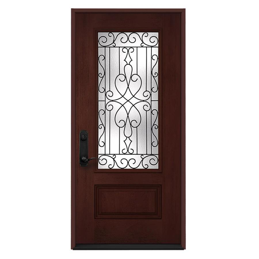 JELD-WEN Wyngate 1-Panel Insulating Core 3/4 Lite Right-Hand Inswing Wineberry Stain Fiberglass Stained Prehung Entry Door (Common: 36-in x 80-in; Actual: 36-in x 80-in)