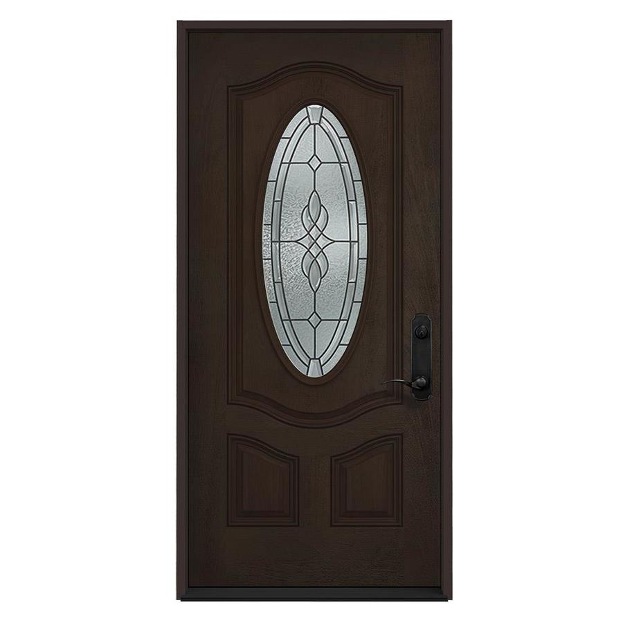 JELD-WEN Hampton Decorative Glass Left-Hand Inswing Walnut Stained Fiberglass Prehung Entry Door with Insulating Core (Common: 36-in x 80-in; Actual: 36-in x 80-in)