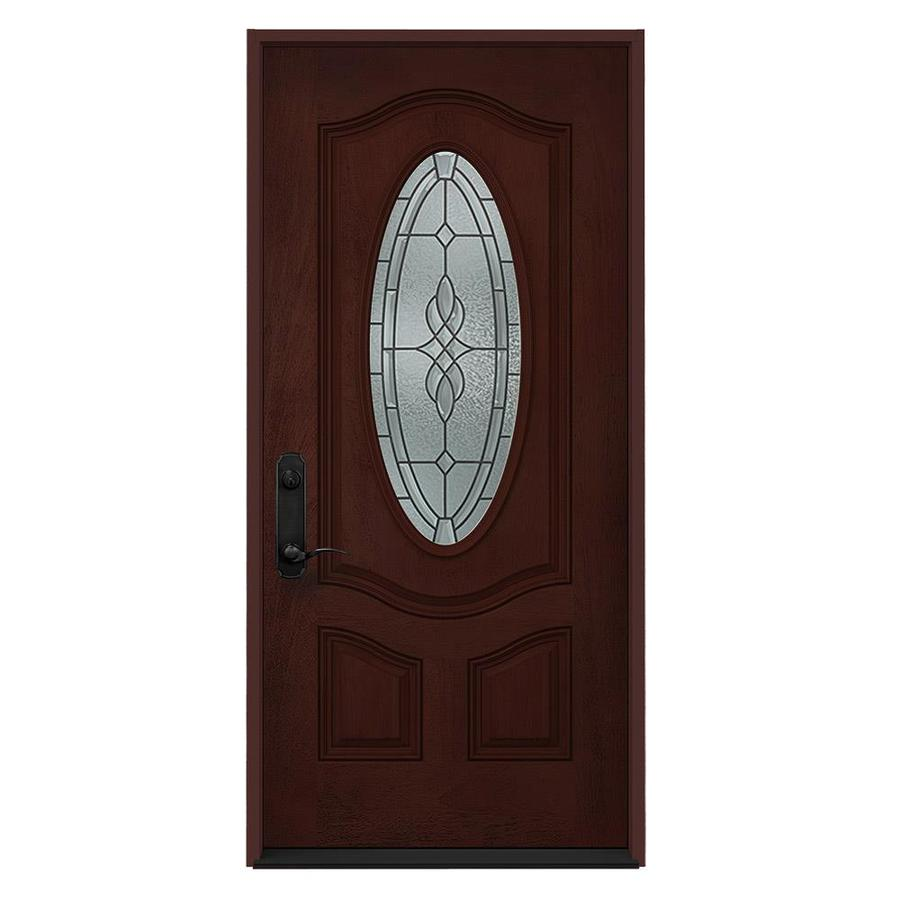 JELD-WEN Hampton Decorative Glass Right-Hand Inswing Wineberry Stained Fiberglass Entry Door (Common: 36-in x 80-in; Actual: 36-in x 80-in)