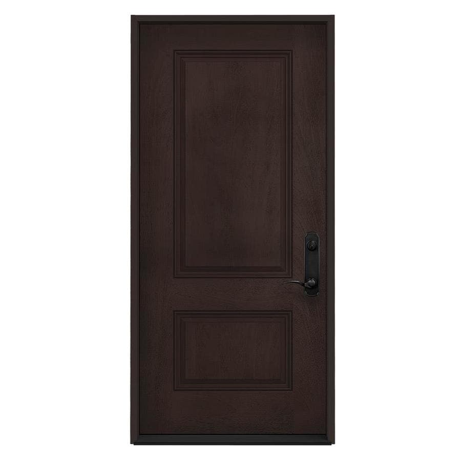 Shop Jeld Wen Left Hand Inswing Walnut Stained Fiberglass Prehung Entry Door With Insulating