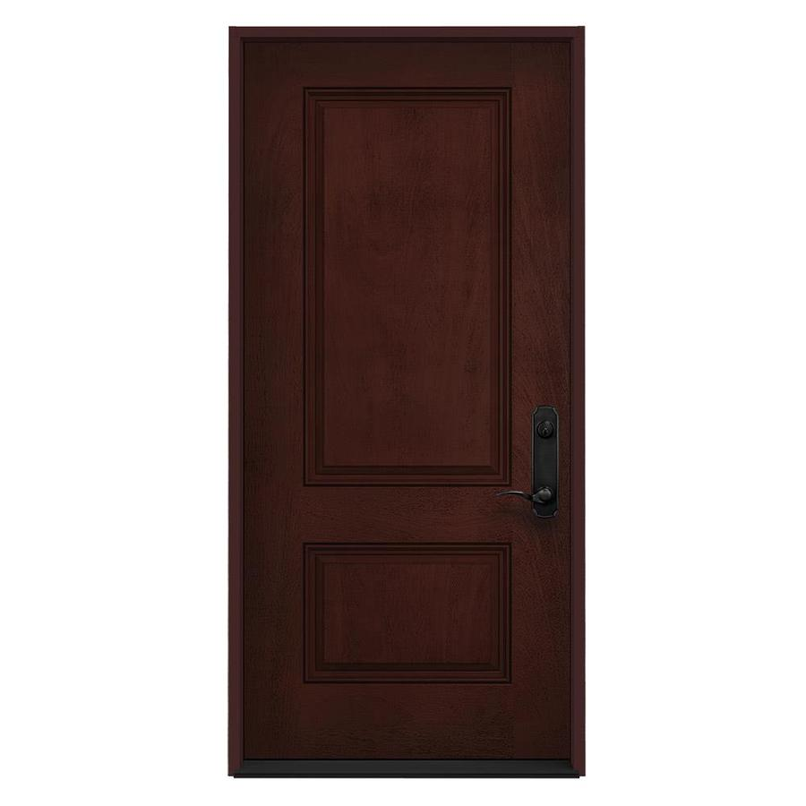 Shop jeld wen left hand inswing wineberry stained for Fiberglass entrance doors