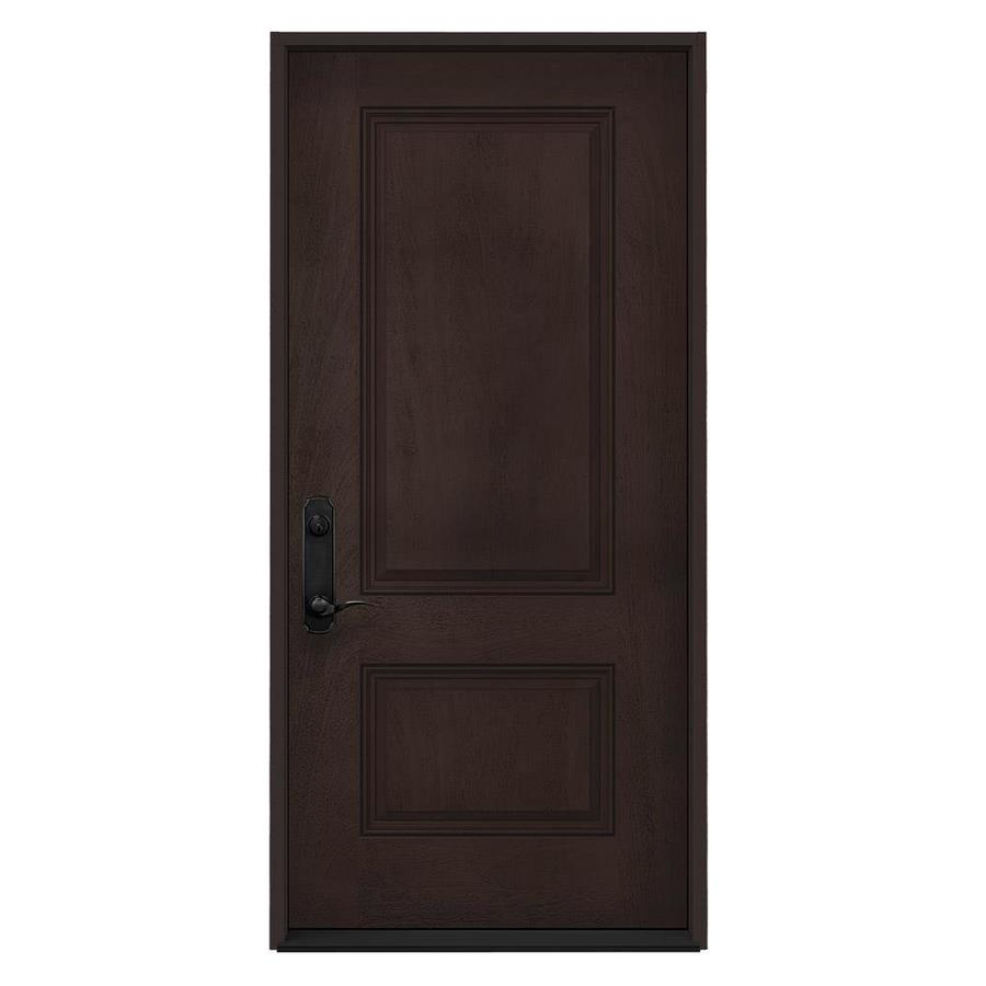 Good JELD WEN Right Hand Inswing Walnut Stained Fiberglass Prehung Entry Door  With Insulating Core