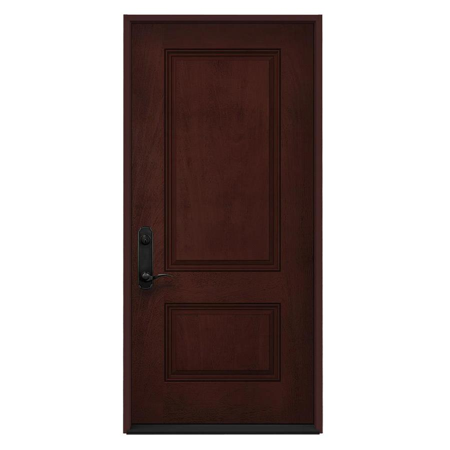 JELD-WEN 2-Panel Insulating Core Right-Hand Inswing Wineberry Stain Fiberglass Stained Prehung Entry Door (Common: 36-in x 80-in; Actual: 36-in x 80-in)