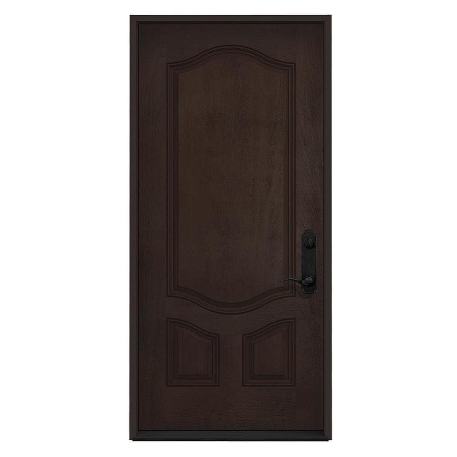 JELD-WEN Left-Hand Inswing Walnut Stained Fiberglass Prehung Entry Door with Insulating Core (Common: 36-in x 80-in; Actual: 36-in x 80-in)