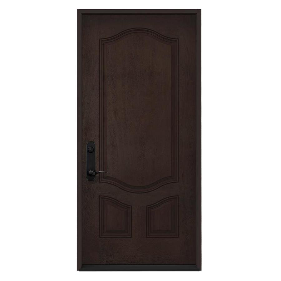 JELD-WEN Right-Hand Inswing Walnut Stained Fiberglass Prehung Entry Door with Insulating Core (Common: 36-in x 80-in; Actual: 36-in x 80-in)