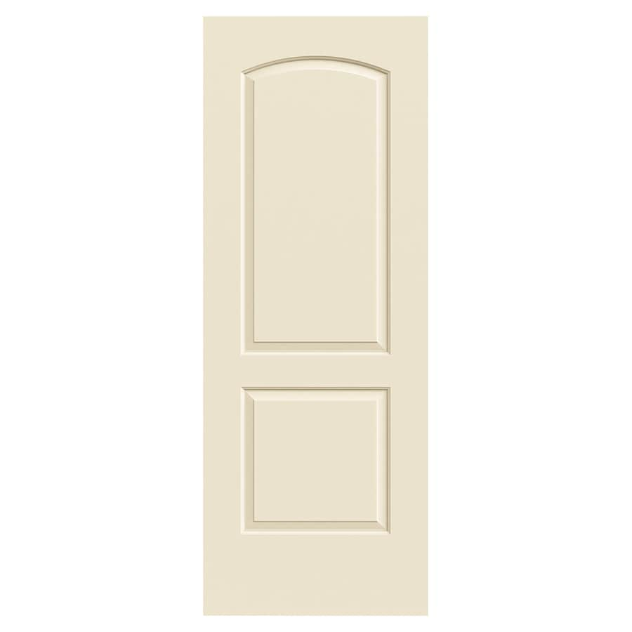 JELD-WEN Continental Cream-N-Sugar Solid Core 2-Panel Round Top Slab Interior Door (Common: 30-in x 80-in; Actual: 30-in x 80-in)
