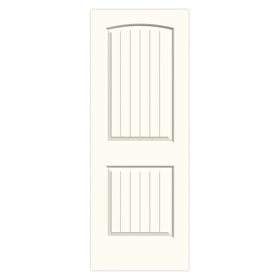 JELD-WEN Santa Fe White Solid Core 2-Panel Round Top Plank Slab Interior Door (Common: 30-in x 80-in; Actual: 30-in x 80-in)