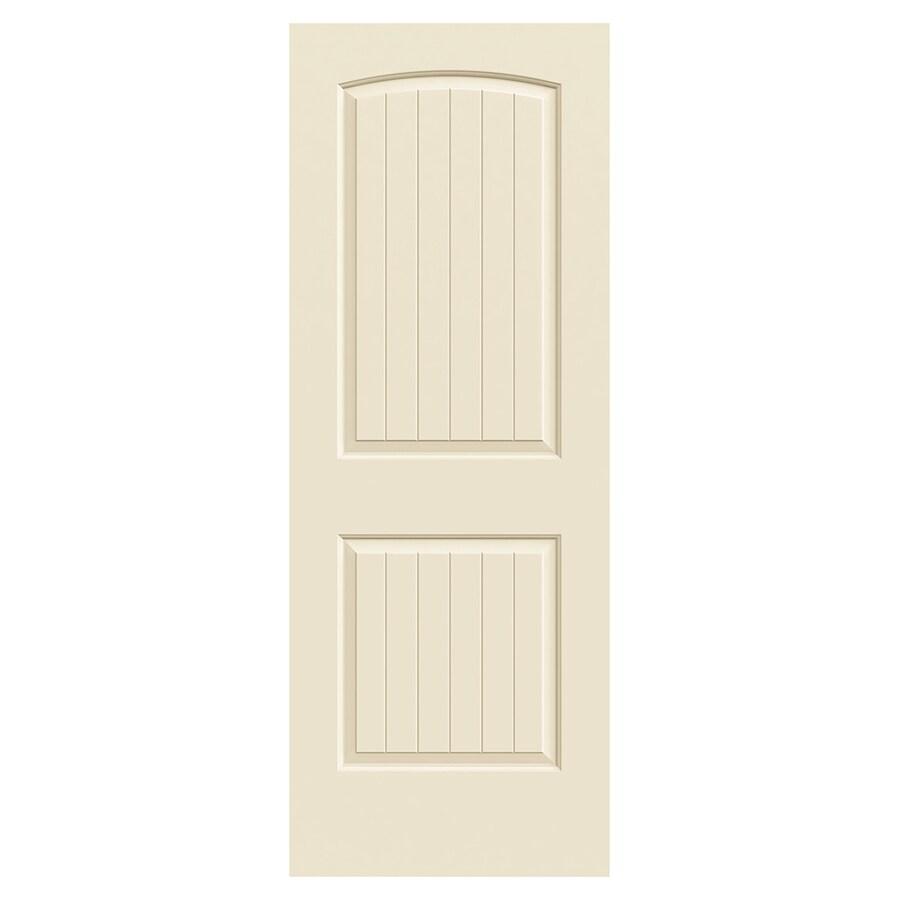 JELD-WEN Santa Fe Cream-N-Sugar Solid Core 2-Panel Round Top Plank Slab Interior Door (Common: 30-in x 80-in; Actual: 30-in x 80-in)