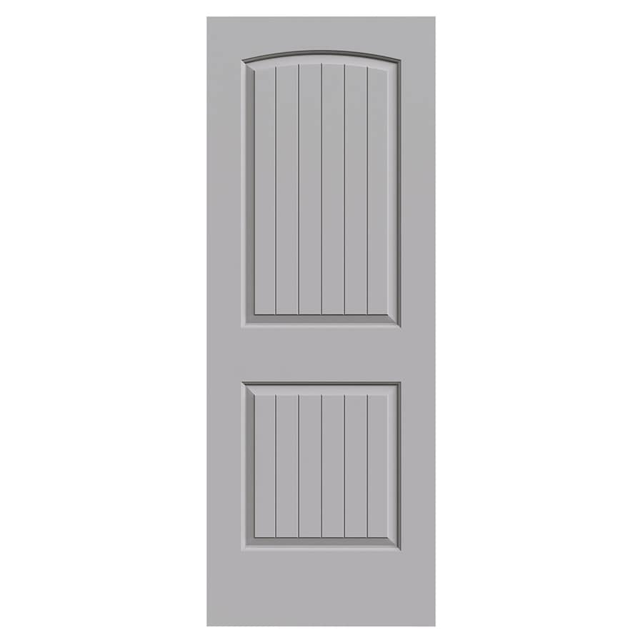 JELD WEN Santa Fe Driftwood 2 Panel Round Top Plank Solid Core Molded  Composite Slab