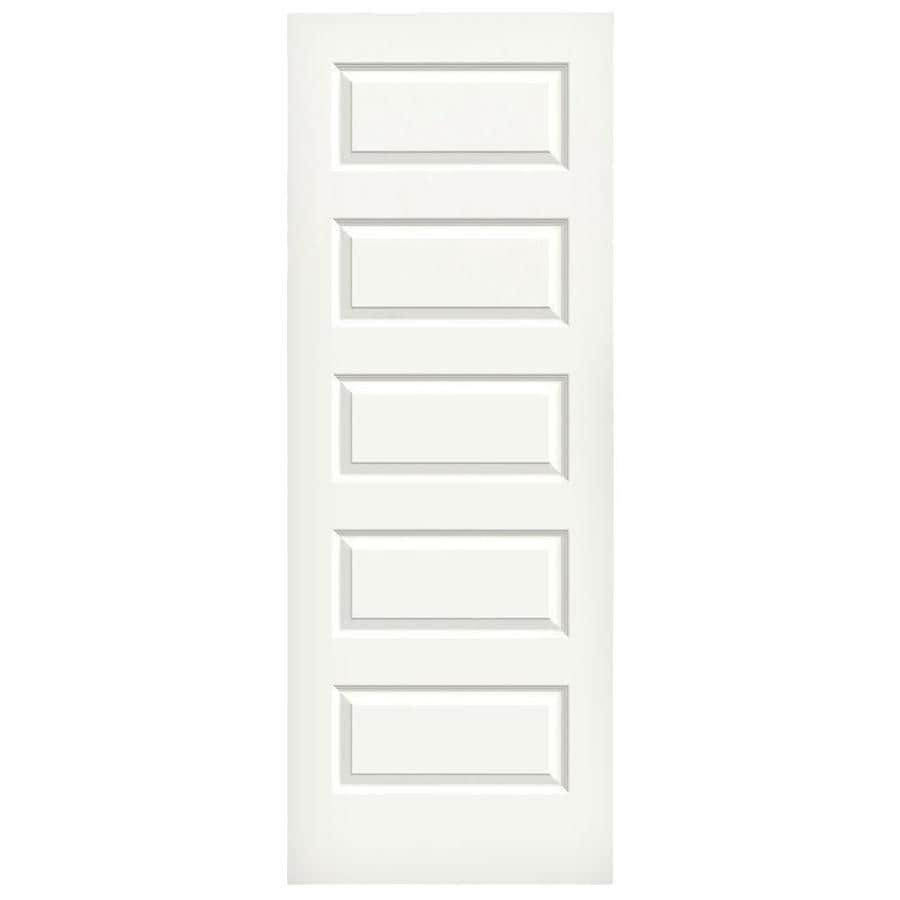 JELD WEN Rockport White 5 Panel Equal Solid Core Molded Composite Slab Door  (