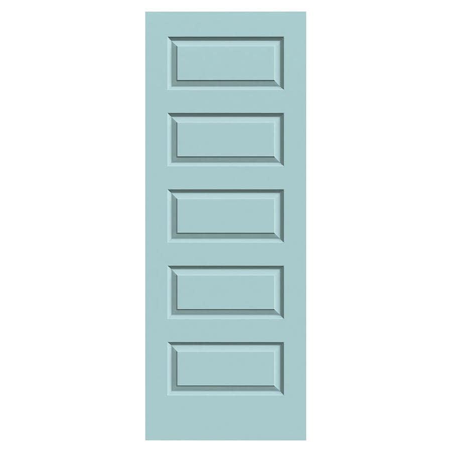 JELD-WEN Rockport Sea Mist Solid Core 5-Panel Equal Slab Interior Door (Common: 30-in x 80-in; Actual: 30-in x 80-in)