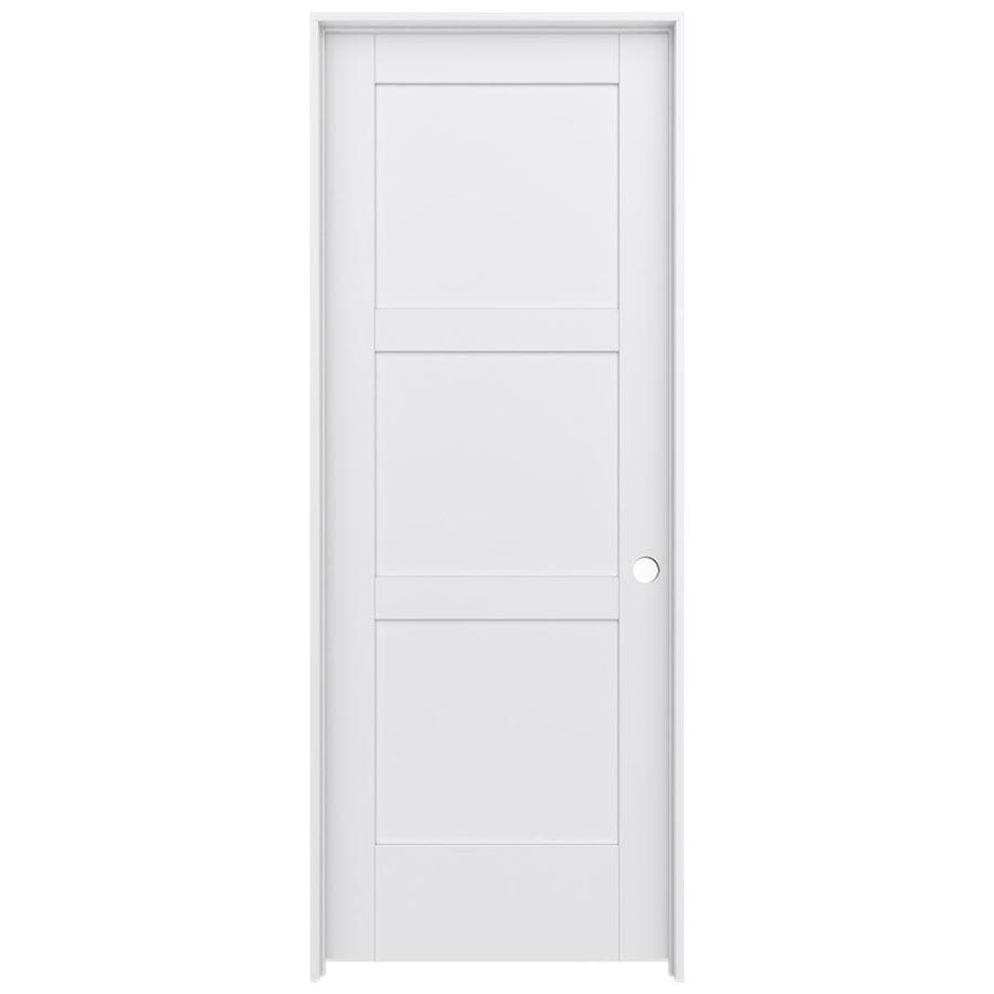 Shop Jeld Wen Moda Primed 3 Panel Square Wood Pine Single Pre Hung Door Common 30 In X 80 In